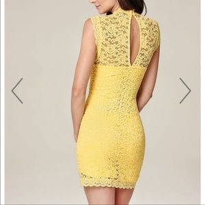 bebe Dresses - Bebe Yellow Sleeveless Lace Dress Size Medium